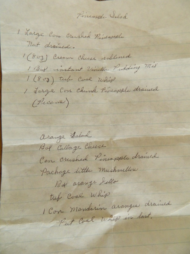 Grandmother's hand written recipe